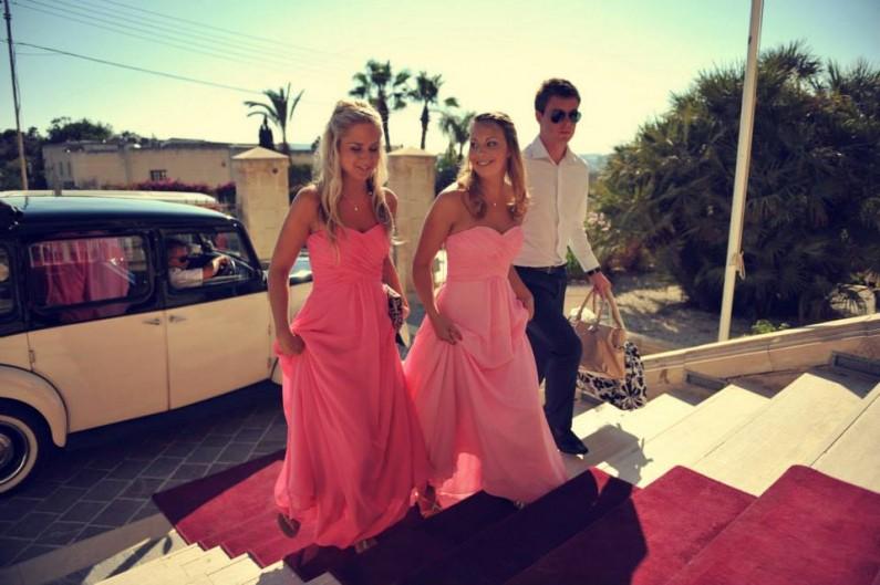 Destination wedding, pink long strapless chiffon bridesmaid dresses