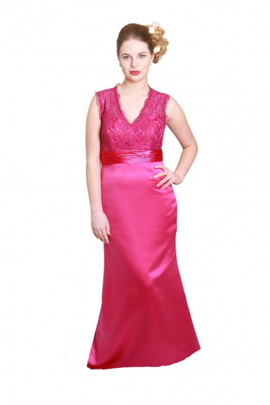 Bridesmaid Dresses Milton Keynes - Fuchsia Bridesmaid Dresses with Lace Detail