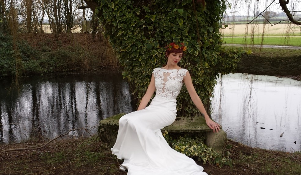 Soft silk and lace wedding dress by Estilo Moda Bridal Milton Keynes Wedding Dress Designer