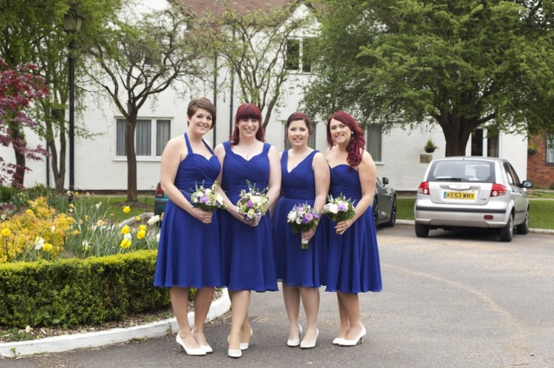 Different design and same colour bridesmaid dresses, navy blue short chiffon bridesmaid dresses, halter neck bridesmaid dress