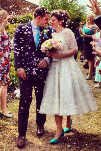 lace tea length 50s style wedding dress