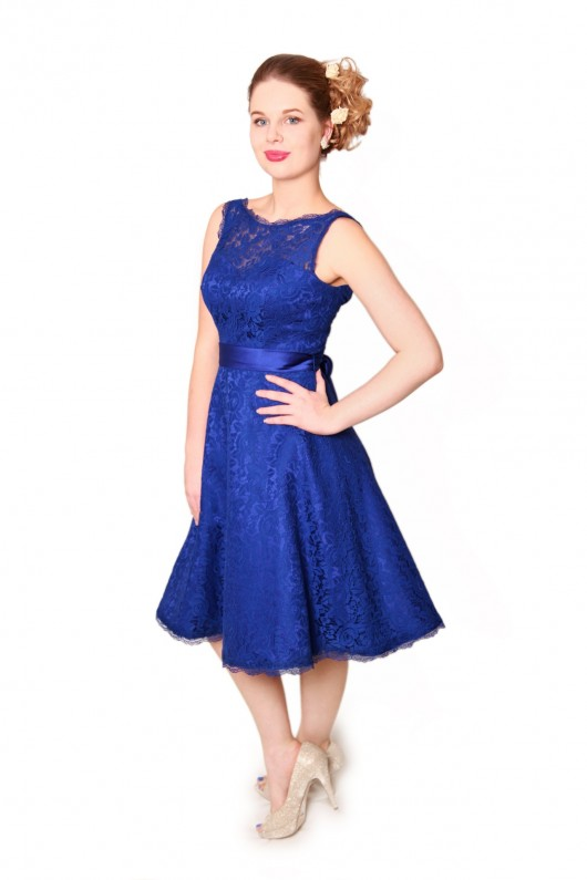 Royal Blue slash neckline 50s style bridesmaids dress