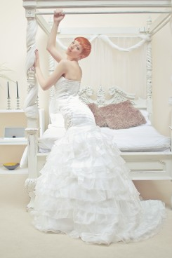 Organza ruffled tier skirt and ruched bodice mermaid wedding dress Estilo Moda Bridal Milton Keynes