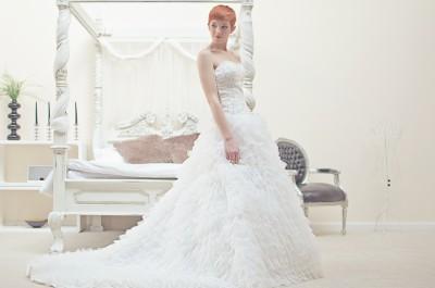 Drop waist lace ball gown and sweetheart neckline wedding dress