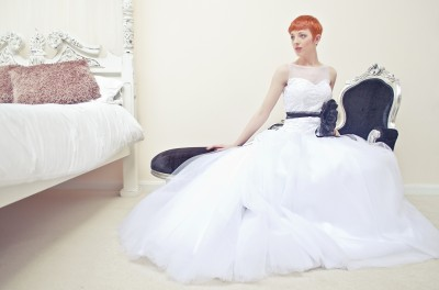 White Lace Tulle Skirt Illusion Neckline Wedding Dress