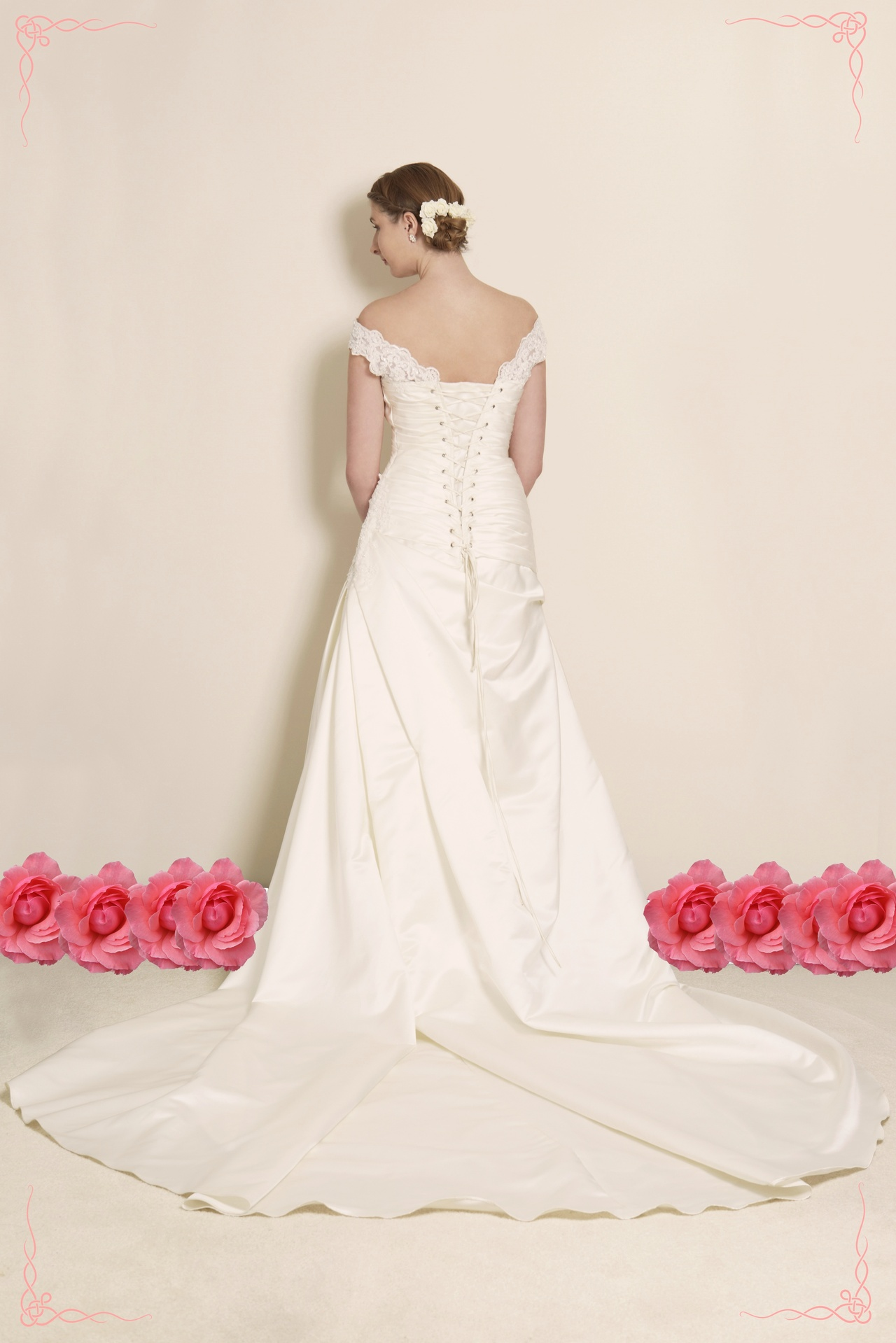 Satin and Lace Off Shoulder Wedding Dress