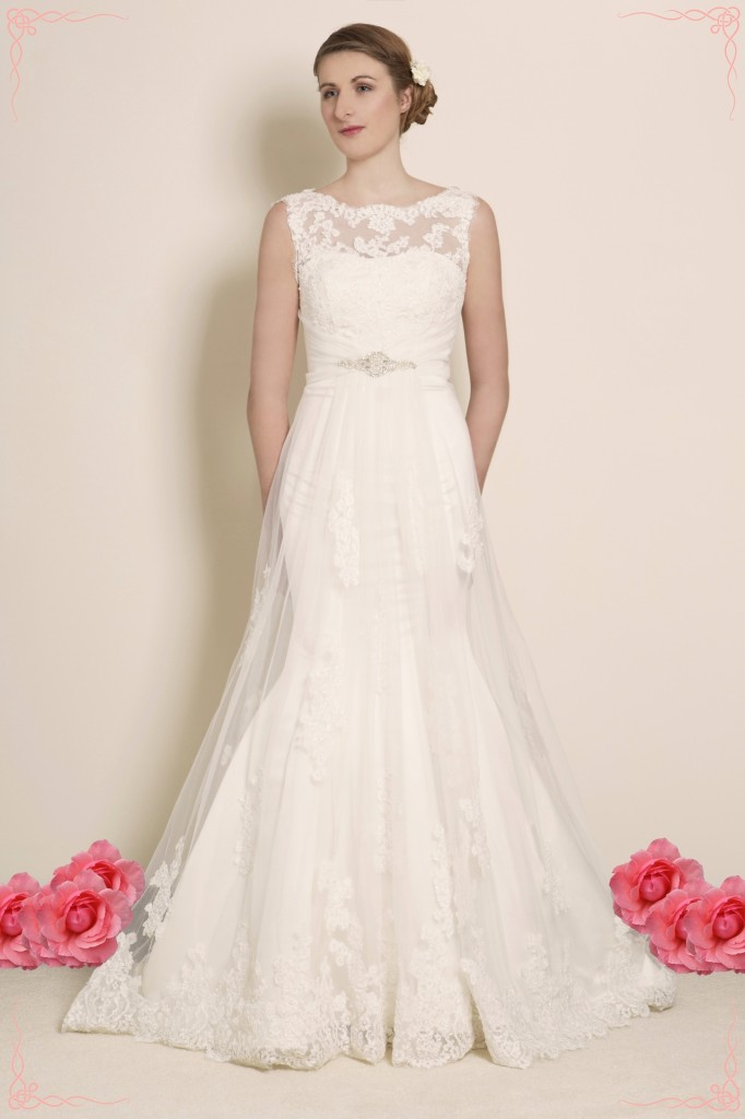 Aleah - Lace and Tulle Illusion Neckline Mermaid Wedding Dress