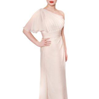 embm05, bridesmaids dresses with sleeves, nude bridesmaids dress, a-line bridesmaid dress, bridesmaid dress with pleated waist band, bridesmaids dresses in milton keynes, bridesmaid dress designer in london
