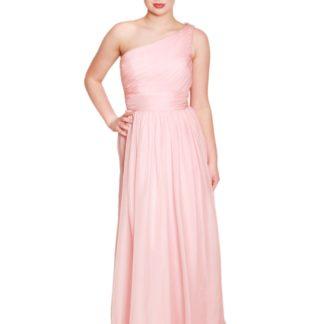 embm07, one shoulder bridesmaid dress, dusky pink bridesmaid dress, blush pink bridesmaid dress, long chiffon dusky pink bridesmaid dress, bridesmaid dresses in milton keynes, made to measure bridesmaid dress, bridesmaid dress with waistband