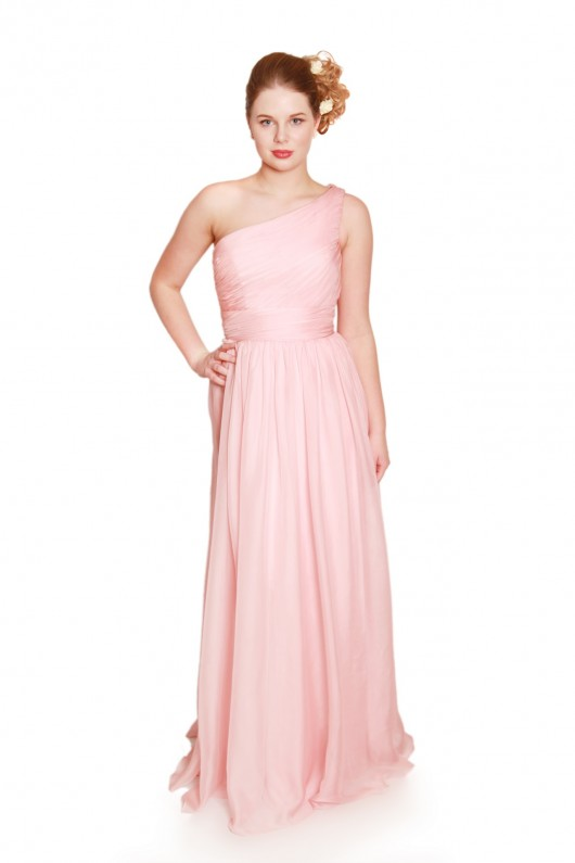 embm07, one shoulder bridesmaid dress, dusky pink bridesmaid dress, blush pink bridesmaid dress, long chiffon dusky pink bridesmaid dress, bridesmaid dresses in milton keynes, made to measure bridesmaid dress, bridesmaid dress with waistband