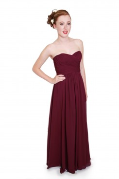 EMBM08 - Purple Chiffon Strapless Bridesmaids Dress