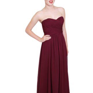 EMBM08 - Purple Chiffon Strapless Bridesmaids Dress