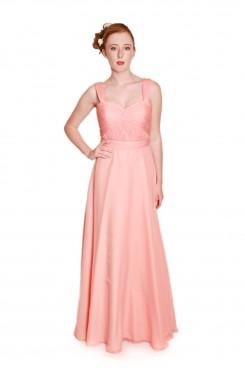 embm12 peach bridesmaids dress, long chiffon bridesmaids dress, bridesmaids dress with straps