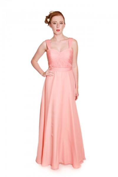peach bridesmaids dress, long chiffon bridesmaids dress, bridesmaids dress with straps
