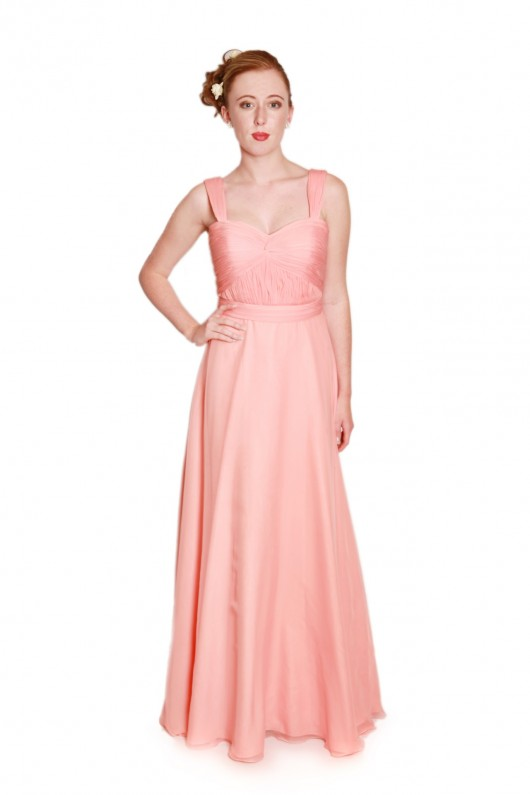 peach bridesmaids dress, long chiffon bridesmaids dress, bridesmaids dress with straps