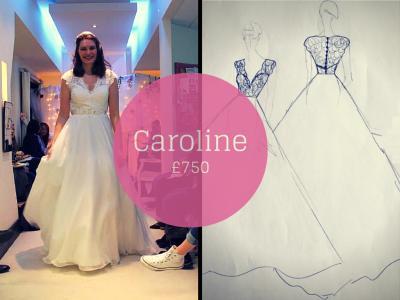 CAROLINE SAVVY CHIC LACE CAP SLEEVE BACKLESS WEDDING DRESSES