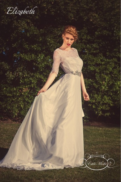 Three quarter sleeve lace bodice bateau illusion neckline and A-line silk feel chiffon skirt, lace wedding dress with sleeves