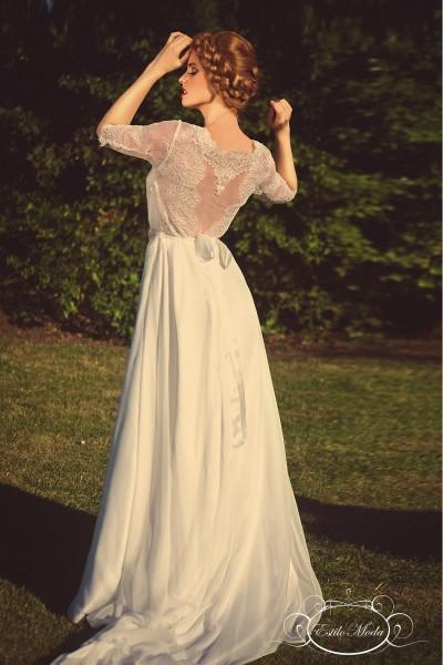 Estilo Moda Wedding Dresses in Milton Keynes Three quarter sleeve lace bodice bateau illusion neckline and A-line silk feel chiffon skirt, lace wedding dress with sleeves