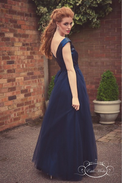 Estilo Moda Sequin V Neck bodice and multi-layered tulle ball gown skirt prom dresses in milton keynes. navy blue evening dress, blue sequin bridesmaid dress