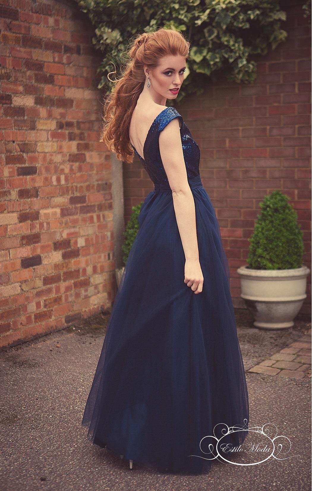 Estilo Moda Sequin V Neck bodice and multi-layered tulle ball gown skirt prom dresses in milton keynes. navy blue evening dress, blue sequin bridesmaid dress