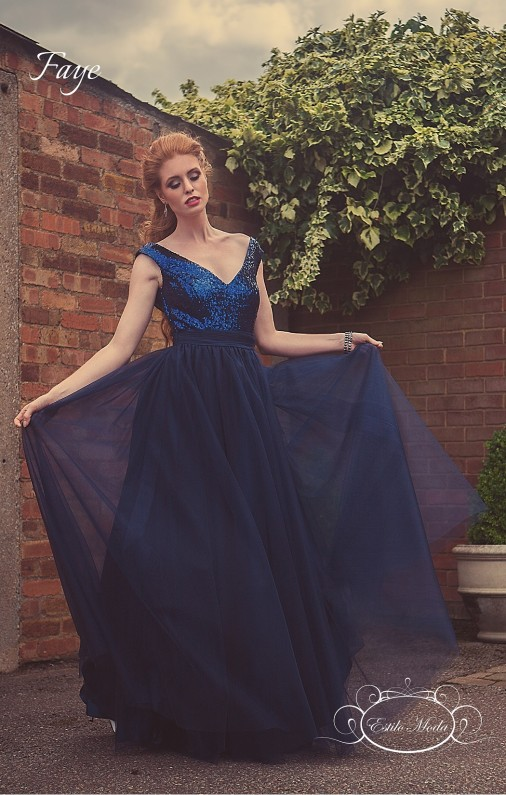 Sequin V Neck bodice and multi-layered tulle ball gown skirt prom dresses in milton keynes. navy blue evening dress, blue sequin bridesmaid dress
