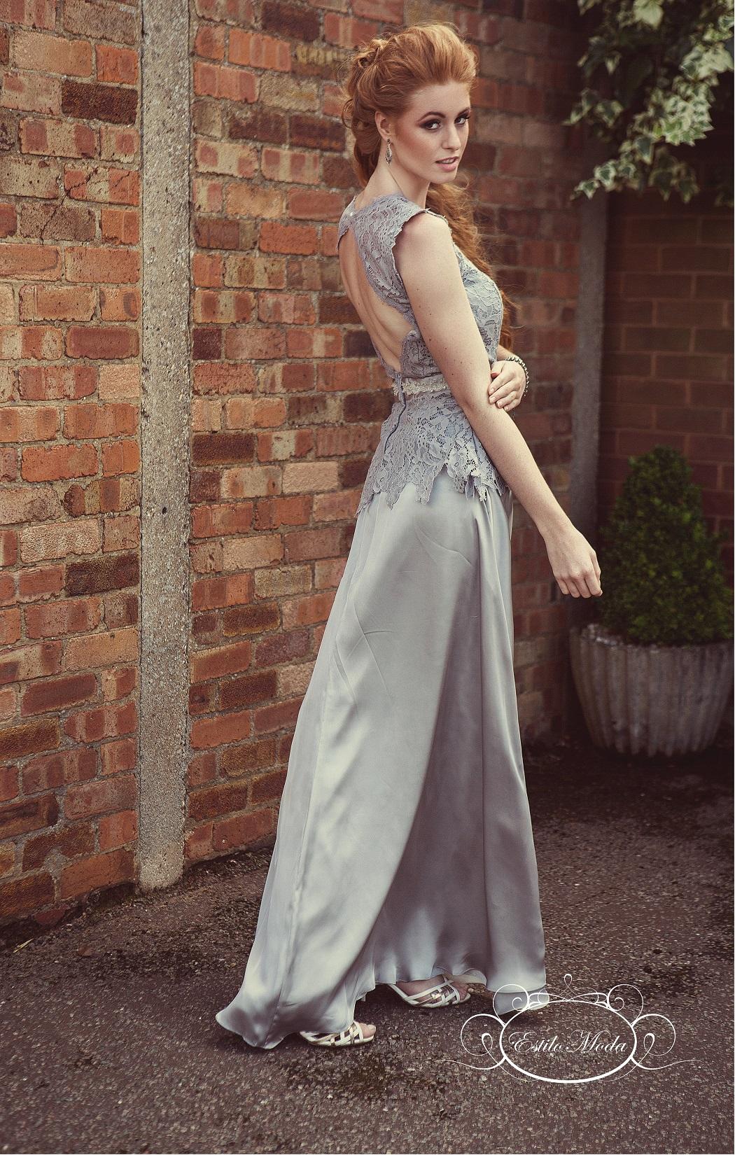 Estilo Moda Bridal prom dress shop in milton keynes Lace and silk keyhole back cap sleeve A-line skirt prom dress. Lace A-line evening dress