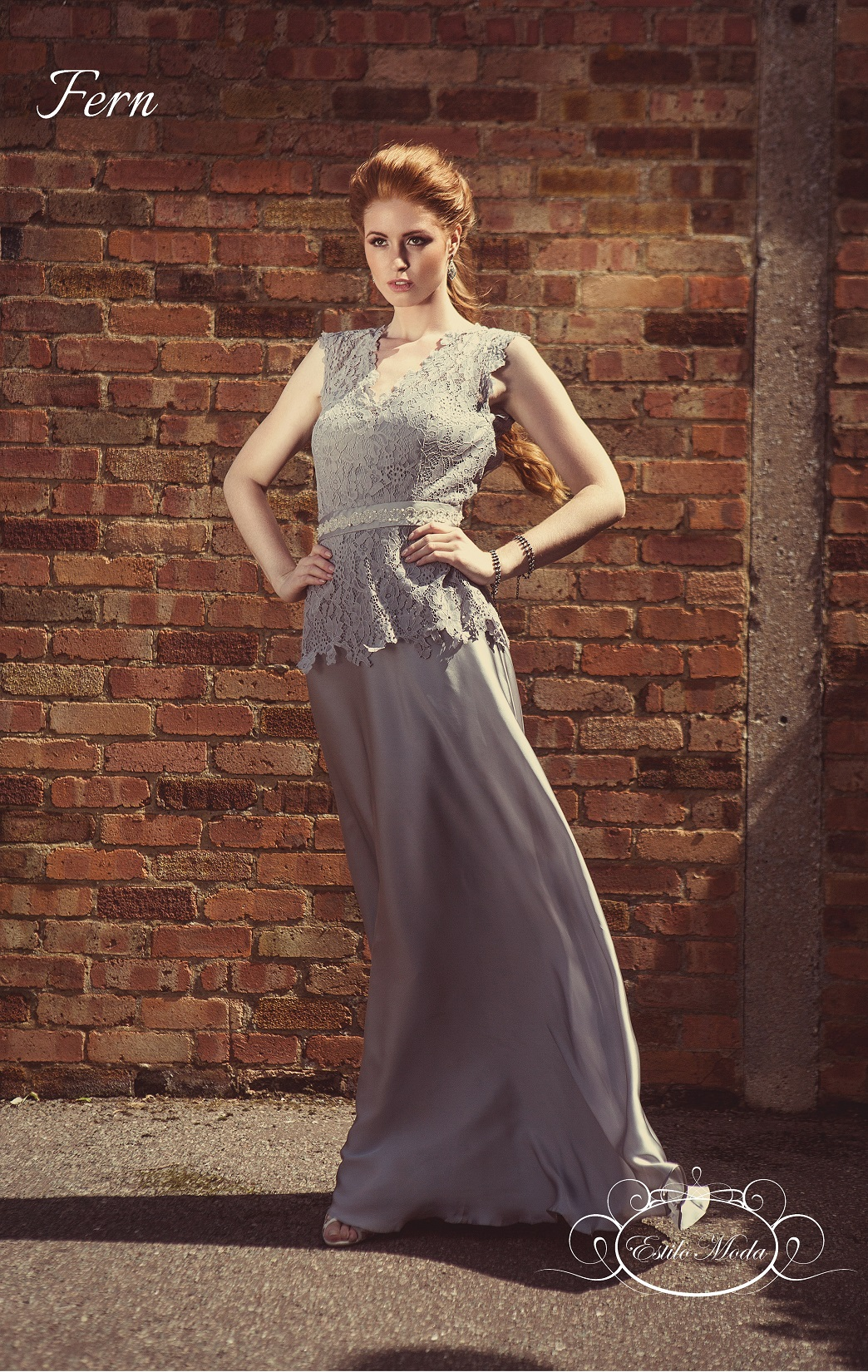 Lace and silk keyhole back cap sleeve A-line skirt prom dress. Lace A-line evening dress