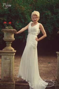 art deco wedding dress, ivory silk satin hollywood glam marilyn monroe style deep V neckline and plunging V back pleated wedding dress, Pippa Back, Grecian style wedding dress, destination wedding dress, beach wedding dress, silk wedding dress with beading