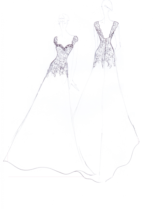 Lace and Organza Wedding Dress Sketch