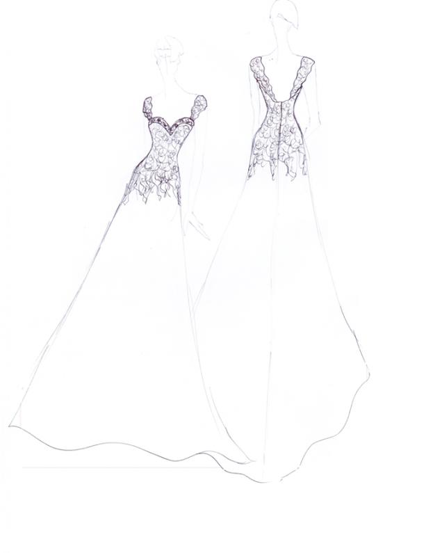 Lace and Organza Wedding Dress Sketch