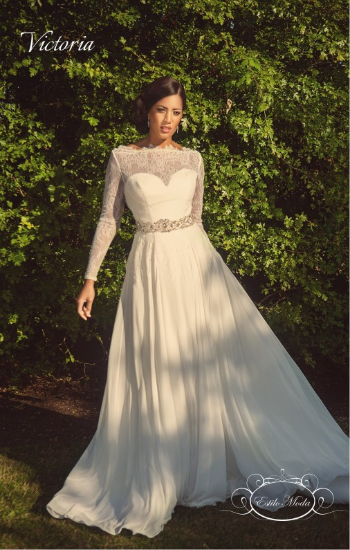 lace wedding dress with long sleeves, Estilo Moda Bridal's Long Sleeve Lace Illusion Neckline A-line chiffon skirt destination wedding dress, beach wedding dress, Victoria Back, long sleeve wedding dress, lace wedding dress, vintage wedding dress, full skirt wedding dress, elie saab wedding dress inspiration