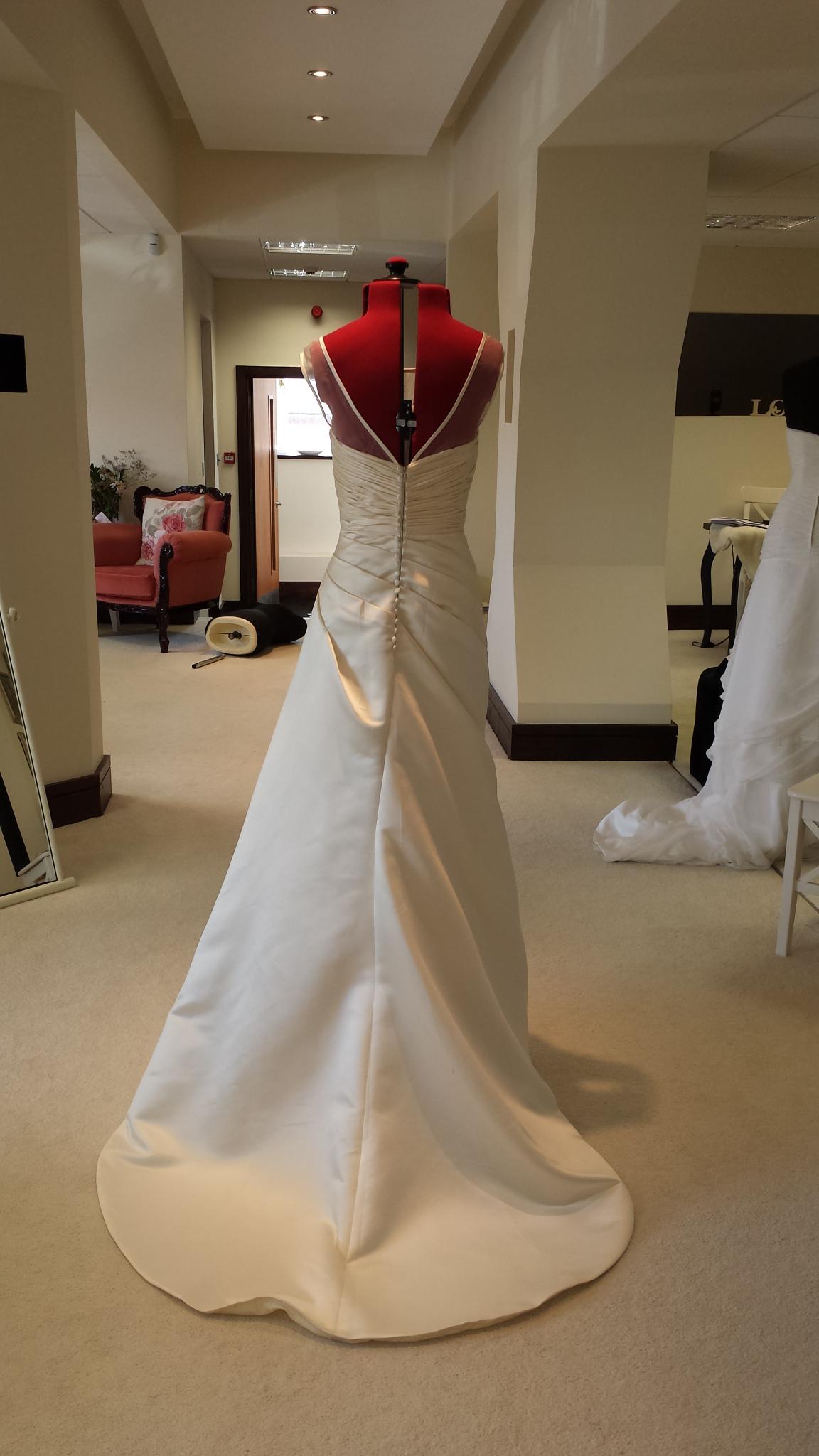 Ivory satin wedding dress, illusion neckline wedding dress
