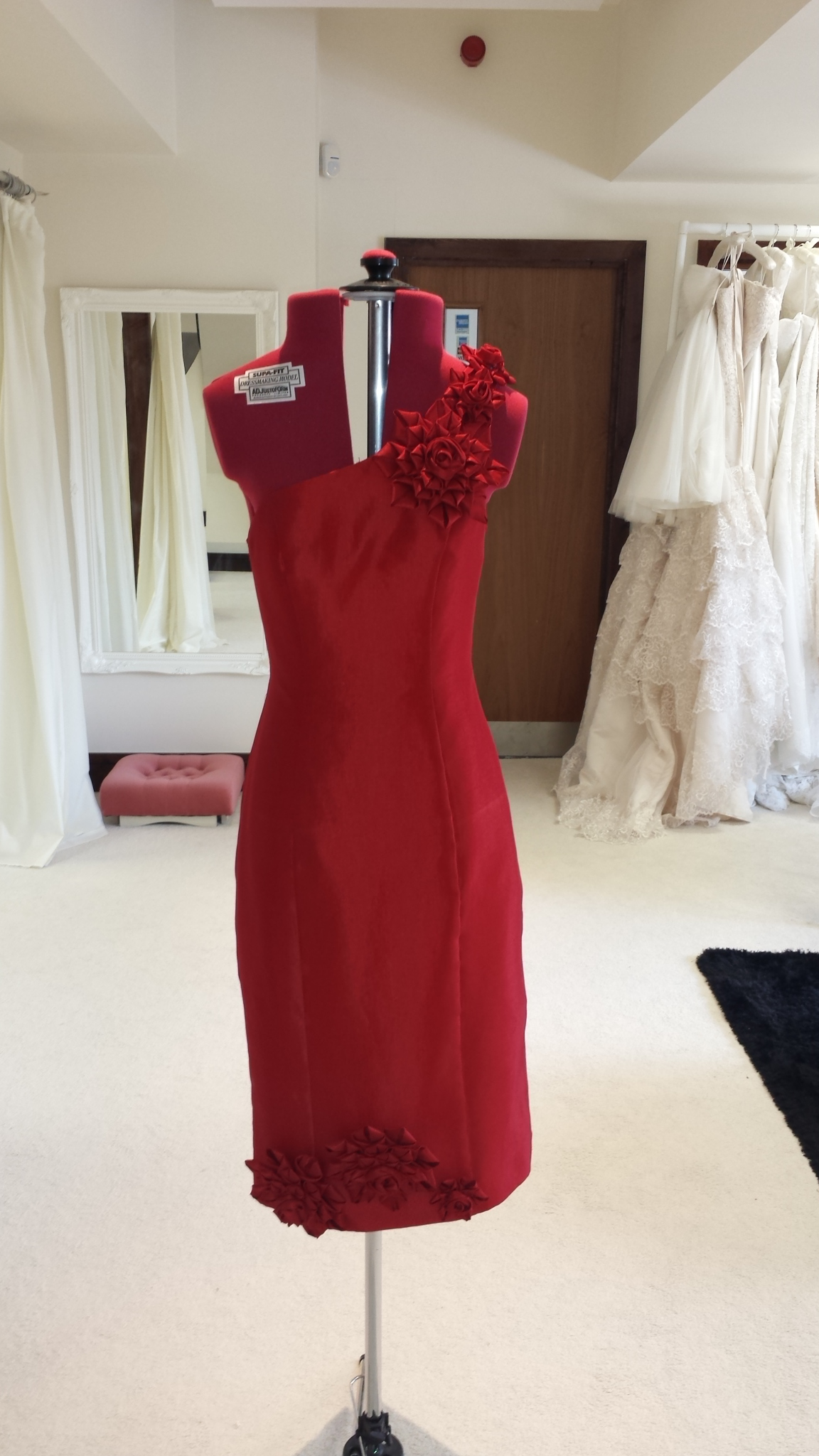 Red one Shoulder Cocktail Dress, Red one shoulder prom dress, red one shoulder