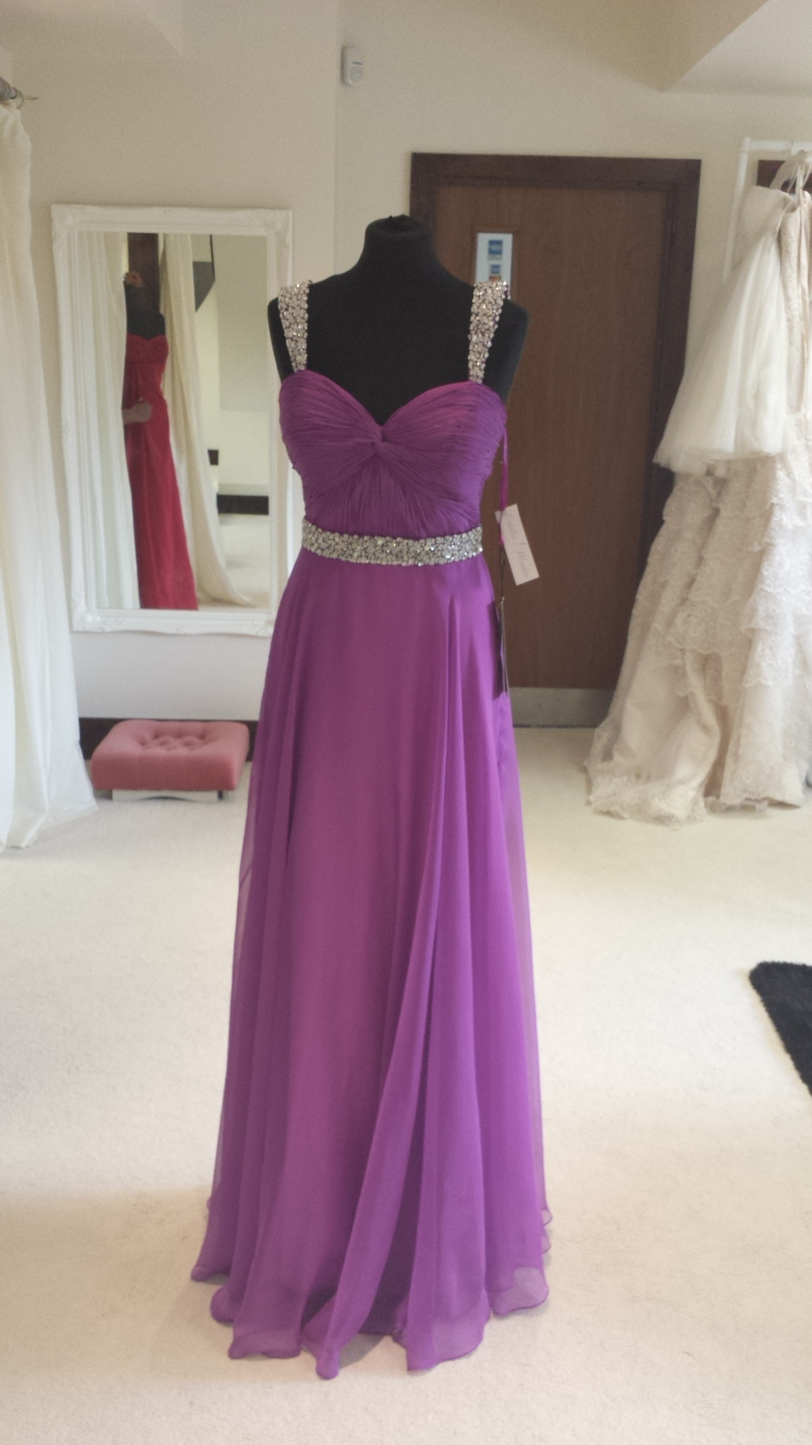 long chiffon prom dress with beaded detail, prom dresses in milton keynes