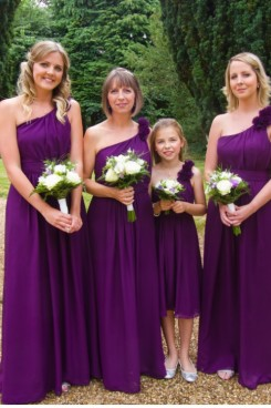 Purple One Shoulder Chiffon Bridesmaids Dress