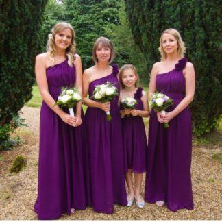 Purple One Shoulder Chiffon Bridesmaids Dress