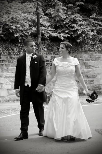Off shoulder taffeta wedding dress