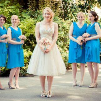 Stunning Blue Chiffon Bridesmaids Dresses, Bridal Shop in Milton Keynes, Affordable bridesmaids dresses UK