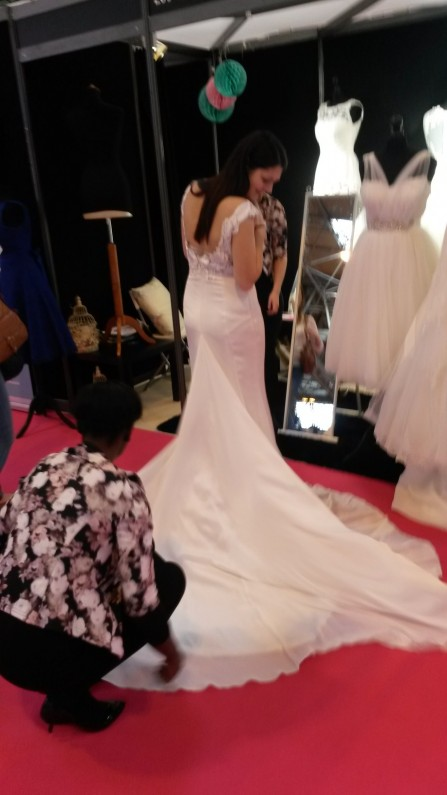 Amira low back wedding dress at The National Wedding Show Birmingham NEC