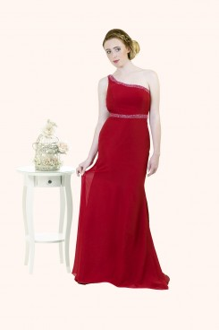 Estilo Moda Milton Keynes Carrie One Shoulder Backless beaded Long length chiffon sheath skirt red prom dress