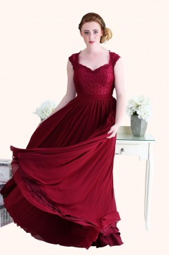 Christina Lace Bodice and Long Length Red Chiffon A-Line Bridesmaid Dress