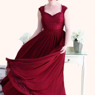 Estilo Moda Milton Keynes Christina Lace Bodice and Long Length Red Chiffon A-Line Bridesmaid Dress