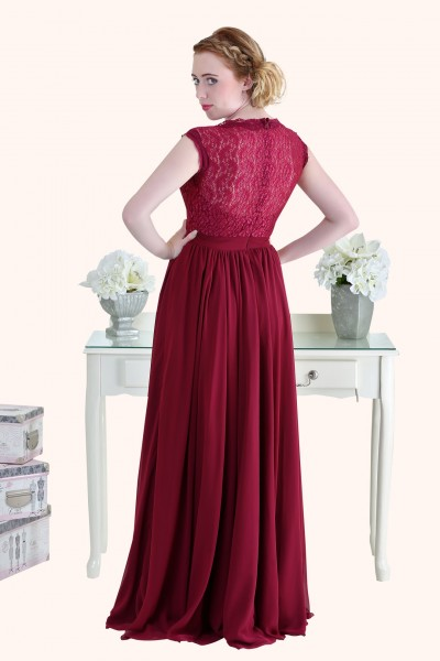 Estilo Moda Milton Keynes Christina Lace Bodice and Long Length Red Chiffon A-Line Bridesmaid Dress Back view