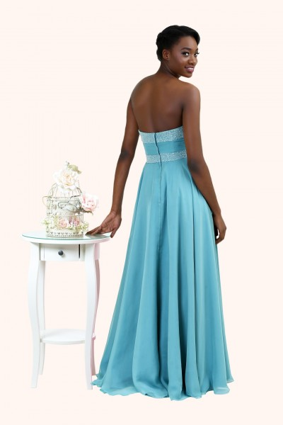 Claire Strapless Chiffon Beaded Neckline A-Line Long Prom Dress back sweetheart neckline bridesmaid dress