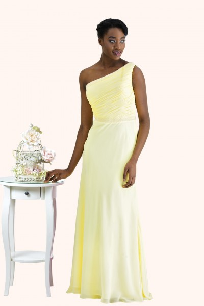 Estilo Moda Milton Keynes Dani One Shoulder beaded waist detail Long length chiffon A-line skirt yellow prom dress. One shoulder sheath evening dress, bridesmaid dress or prom dress with a beaded neckline and waist detail