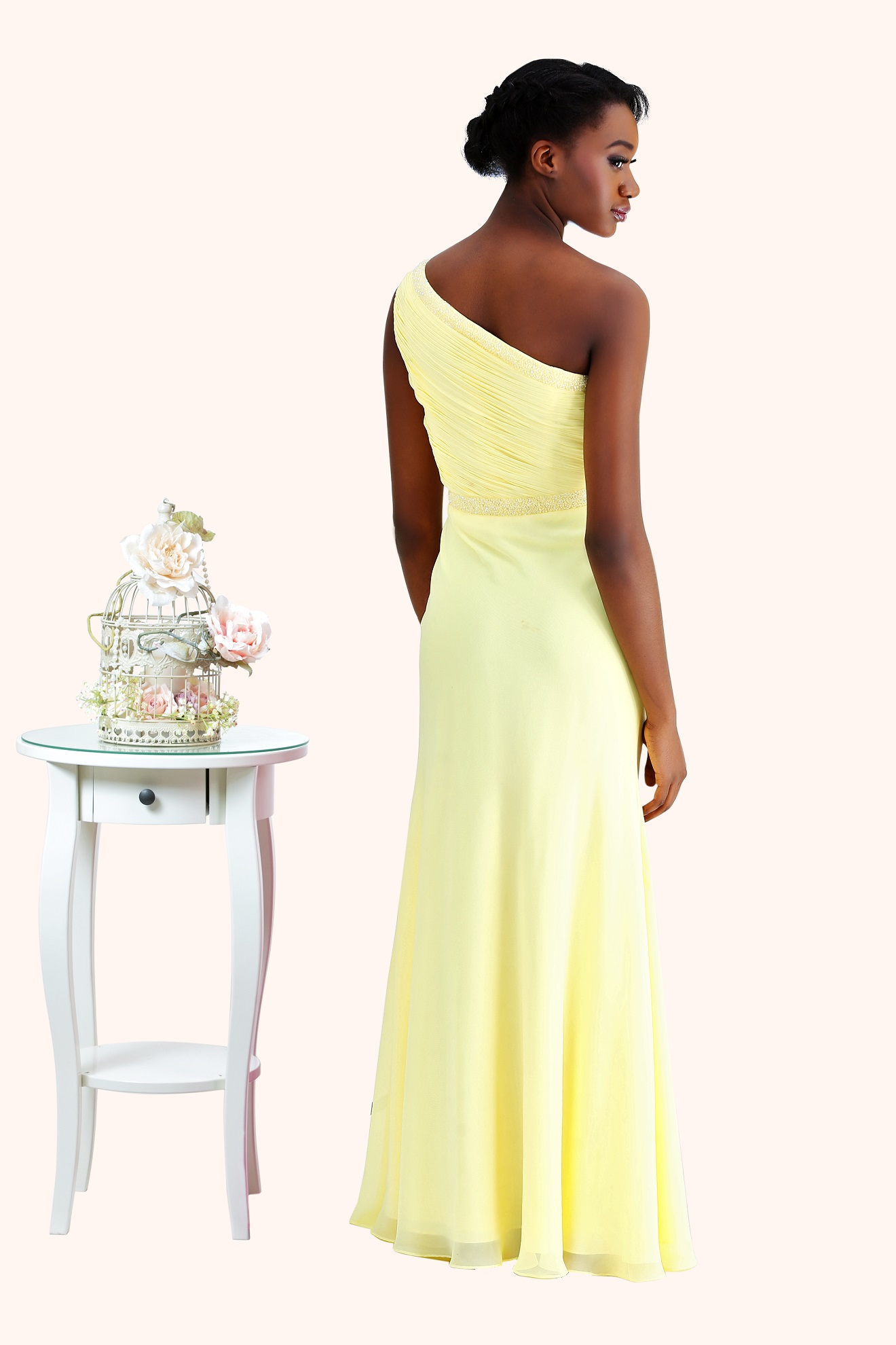 Estilo Moda Milton Keynes Dani One Shoulder beaded waist detail Long length chiffon A-line skirt yellow prom dress back. One shoulder sheath evening dress, bridesmaid dress or prom dress with a beaded neckline and waist detail