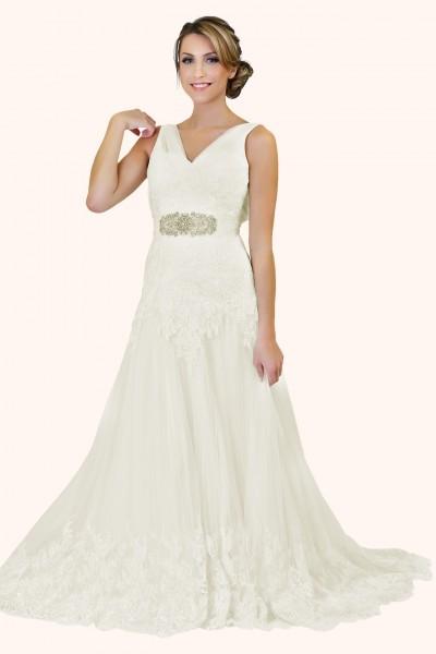 Milton Keynes Estilo Moda Bridal - Bespoke Wedding Dress Designer - Ann V Neckline Fit and Flare lace trim wedding dress