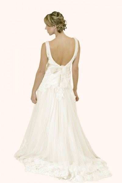 Milton Keynes Estilo Moda Bridal - Bespoke Wedding Dress Designer - Ann V Neckline Fit and Flare lace trim wedding dress back view