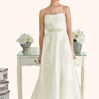 Milton Keynes Estilo Moda Bridal - Bespoke Wedding Dress Designer - Betty Curved sweetheart neckline lace and tulle A-line wedding dress-Cheap Affordable wedding dress, strapless lace a line wedding dress