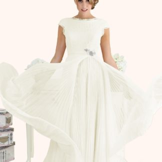 Wedding Dress Sample Sale Estilo Moda Wedding Dress Milton Keynes Estilo Moda Bridal - Bespoke Wedding Dress Designer - Caroline Bateau Neckline Lace Bodice Open Back Pleated Chiffon Skirt with slit Wedding Dress